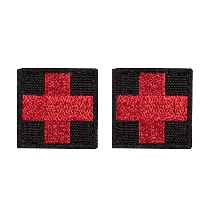 yisibo 2pcs Medic Red Cross First Aid Morale Patch - Perfect for IFAK Rip Away Pouch, EMT, EMS, Trauma, Medical, Paramedic, First Response Rescue (Square, Red Cross-Black)