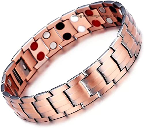 Impression Health Care Energy 4 in 1 Double Row Red Copper Bio Magnetic Bracelet for Men and Boys Rose Gold