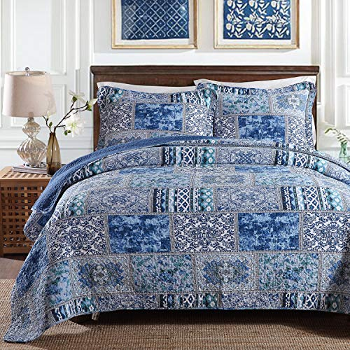 YAYIDAY Tagesdecke Bettüberwurf Baumwolle Quilt für Doppelbett Patchwork Gesteppt Steppdecke / 250 x 270 cm - Blau