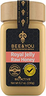 Bee and You Royal Jelly + Raw Honey Mix – Pure – Highest Quality – No Additives/Flavors/Preservatives Added – 6.7 oz