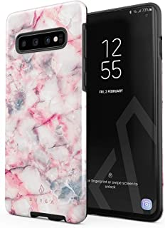 BURGA Phone Case Compatible with Samsung Galaxy S10 Plus Raspberry Jam Pink Candy Marble Cute for Women Heavy Duty Shockproof Dual Layer Hard Shell + Silicone Protective Cover