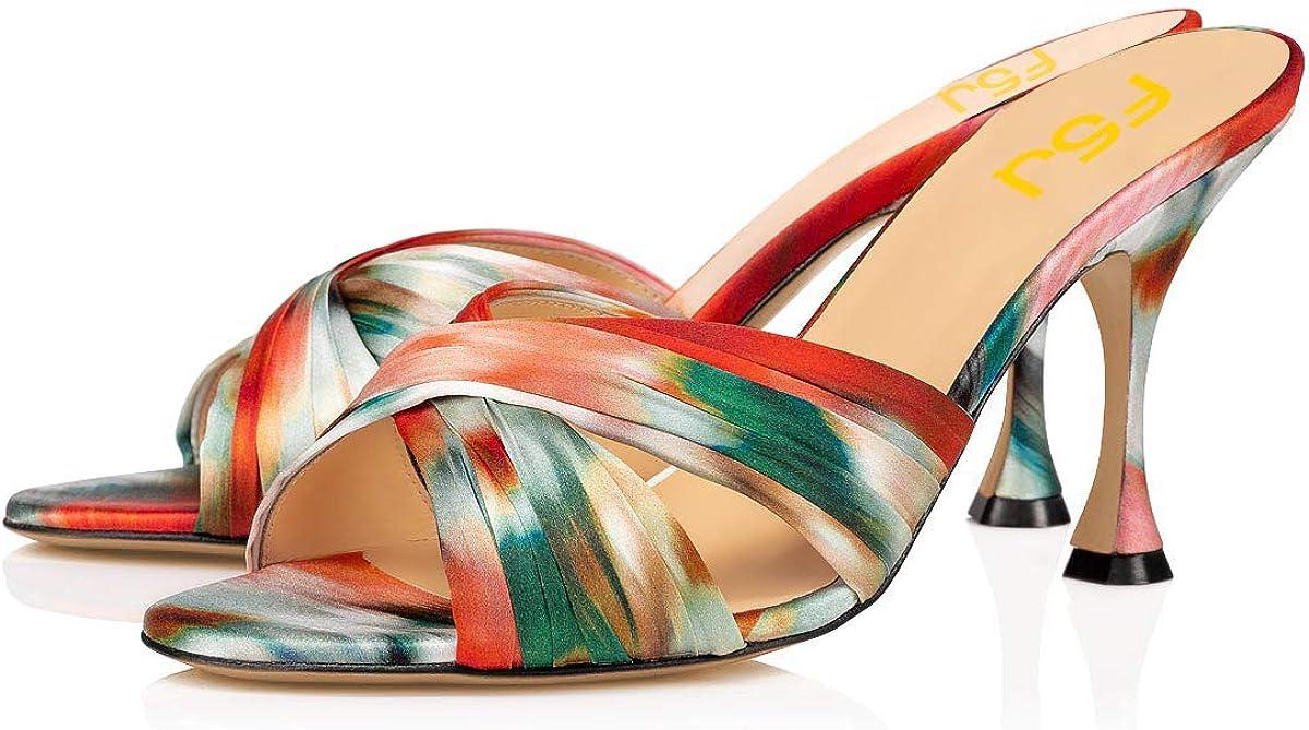 FSJ Women Versatile Open Toe Slide Spool Mid Heel Mules Round Toe Slip On Backless Sandals Dressy Summer Slipper Shoes Size 4-15 US