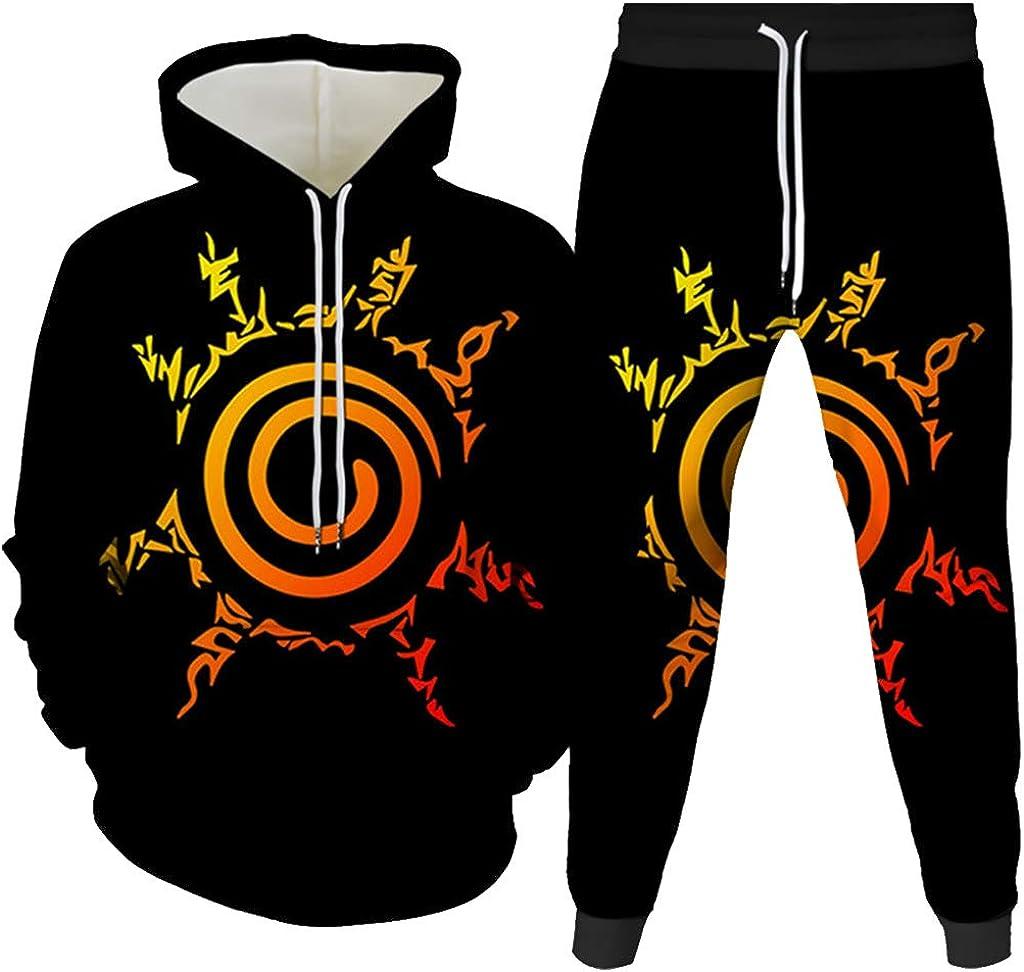 KIACIYA Naruto Hoodie und Hose Herren Damen Uchiha Itachi Sasuke Kakashi Akatsuki Uzumaki Pain Pullover Lange Hose Set M/änner 3D Anime Pulli Pants Kinder Jungen Sharingan Sweatshirt Kapuzenpullover