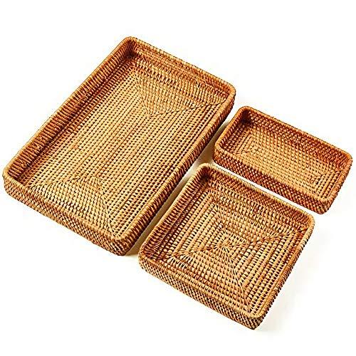 Kuinayouyi Juego de 3 bandejas de mimbre hechas a mano de ratán rectangular para servir, organizador de mesa y fruta