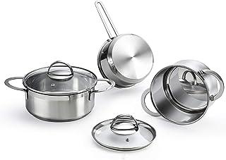 Eono by Amazon Batería de cocina de 5 piezas para inducción de acero inoxidable con tapa de vidrio templado, acabado de espejo pulido y apta para horno, 16/16/20cm, SETS-5P