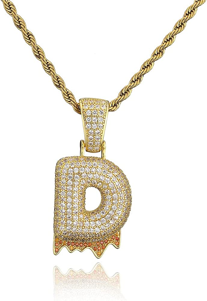 18K Gold Plated Big Size Initial Necklace AAAAA+ Cubic Zirconia Iced Out Bling Bling Letter Pendant Necklace For Men Women Hip Hop Jewelry