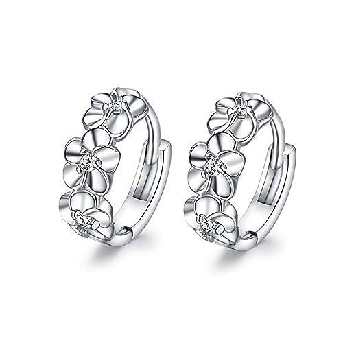 003764d23d21 LANMPU 925 Sterling Silver - Ladies Jewellers Cubic Zirconia Beautiful  Flower Cluster Hoop Stud Earrings for