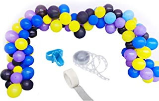 Video Game Party Balloon Garland Kit, 103PCS 12Inch Balloon Garland Including Black, Blue, Yellow and Purple Assorted Balloons Decorations Ideal for Game Themed Party Decorations
