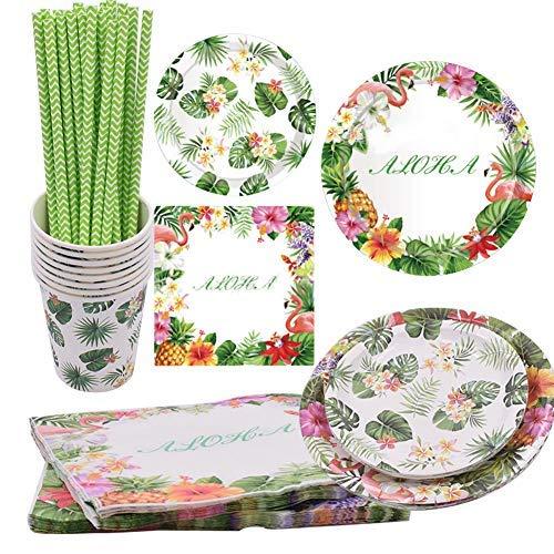 Juego de 69 piezas de accesorios para fiesta hawaiana con flamencos de verano, vasos, servilletas, pajitas, cubiertos para 8 personas, decoración de guardería, juego de vajilla de fiesta de flamencos