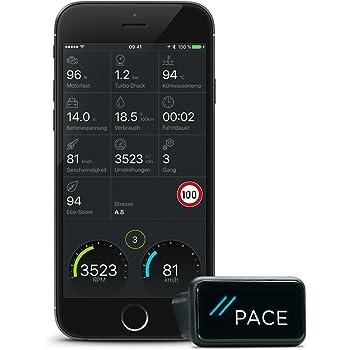 Pace Link, Elektronisches Fahrtenbuch, Finanzamtkonform, OBD-2 Diagnosegerät und App, Fehlercode Analyse, Automatischer Notruf (eCall), Find-My-Car Funktion, Digitales Fahrtenbuch