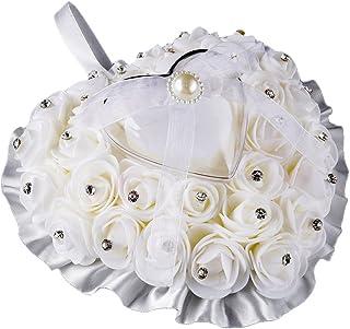 Colorido Rose Flower Heart Shaped Rhinestone Satin Bowknot Ring Box Pillow Wedding (White)