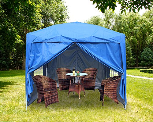 Greenbay 2M x 2M Foldable Pop up Gazebo Sun Protection Event Outdoor Tent With Four Side Panels (Two with Windows) - Blue