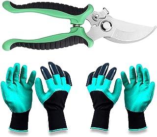 Garden Steel Pruning Shears, 2Pairs Garden Genie Gloves with Claws