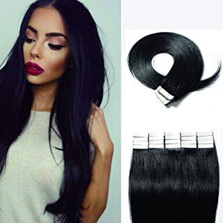 SEGO 40 Pieces Rooted Tape in Hair Extensions Human Hair Seamless Skin Weft 100% Real Remy Invisible Tape Hair Extensions Straight Double Sided 20 inches #01 Jet Black 100g