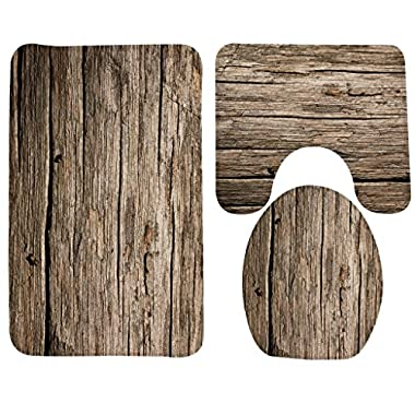 Wondertify Bath Mat,Wood,Rustic Old Barn Wood Bathroom Carpet Rug,Non-Slip 3 Piece Bathroom Mat Set