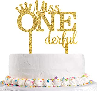 Talorine Glitter Acrylic Miss Onederful Cake Topper, Baby Shower Baby Girl 1st Birthday Cake Topper Princess Birthday Part...