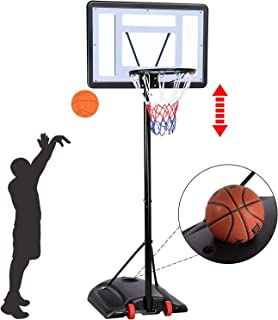YAHEETECH 7.2-9.2ft Basketball Hoop Backboard System Portable Removeable Basketball Hoop & Goals Outdoor/Indoor Adjustable Height Basketball Set for Kids/Youth/Teenagers