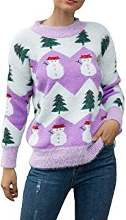 Greetuny Women Casual Knit Sweater Round Neck Long Sleeve Christmas Snowman Print Pullover Cute Loose Sweater