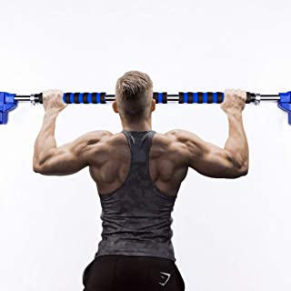 Tortoise I.T. Adjustable Width Pull Up Bar, Door Exercise Bar No Screw Installation, Doorway Chin up Bar with Locking Mechanism, Home and Office Indoor Workout Bar 27.5