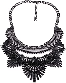 2 Colors Vintage Statement Necklace Gypsy Bohemian Ethnic Tribal Pendant with Oval Crystal Fashion Jewelry for Women