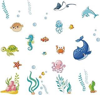 Runtoo Pegatinas de Pared Peces Stickers Adhesivos Vinilo Submarino Decorativas Baño Infantiles Habitacion Bebe