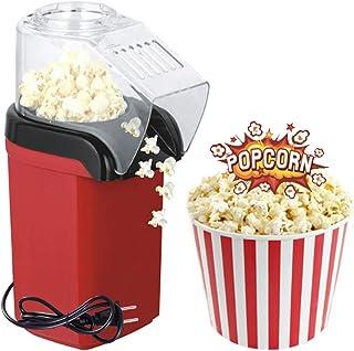 EEX ポップコーンマシン 家庭用 ポップコーンメーカー 油無し ワンタッチでポップコーが作れる 焦げない 片付け簡単 (レッド, 16.5x12x26.5cm)