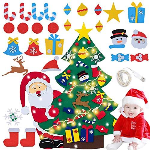 Felt Christmas Tree,Staccabili per i Bambini DIY Natale Albero Regali,DIY Albero di Natale in Feltro,Albero di Natale in Feltro a LED,Albero di Natale in Feltro Decorativo Fai da Te