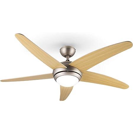 KLARSTEIN Bolero - Ventilateur de Plafond 2 en 1, diamètre de 134 cm, Lampe avec Puissance 55 W, pales en Bois, télécommande, 50 DB, 3 Vitesses: Rapide, Moyenne, Lente - érable