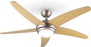 KLARSTEIN Bolero - Ventilateur de Plafond 2 en 1, diamètre de 134 cm, Lampe avec Puissance 55 W, pales en Bois, télécomman...