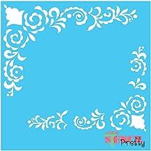 Standard Brilliant Blue Color Material Elegant Border Stencil Garnishes-S (11