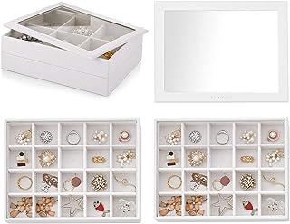 صينية مجوهرات قابلة للتكديس من فلاندو - إكسسوارات مجوهرات متعددة الأغراض تعرض التخزين والتنظيم للأقراط والعقد (2 طبقة من 3...