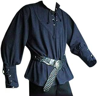 Men's Medieval Lace Up Pirate Mercenary Scottish Wide Cuff Shirt Costume
