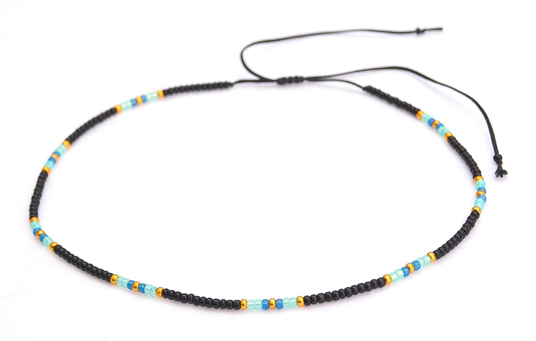 Boho Choker Super sale Necklace Black Beaded List price Bohemian Ch Adjustable Hippie
