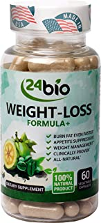 24bio Natural Weight Support Supplement + Energy Booster, Full of Garcinia Cambogia L-Carnitine & Green Coffee Bean Extract and 5-HTP, Helps Suppress Appetite & Manage Weight, Clinically Proven
