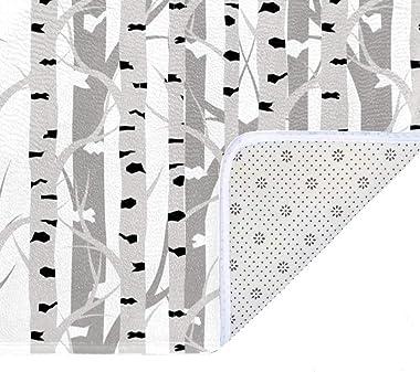 EGGDIOQ Doormats Birch Tree Seamless Pattern Custom Print Bathroom Mat Waterproof Fabric Kitchen Entrance Rug, 23.6 x 15.7in
