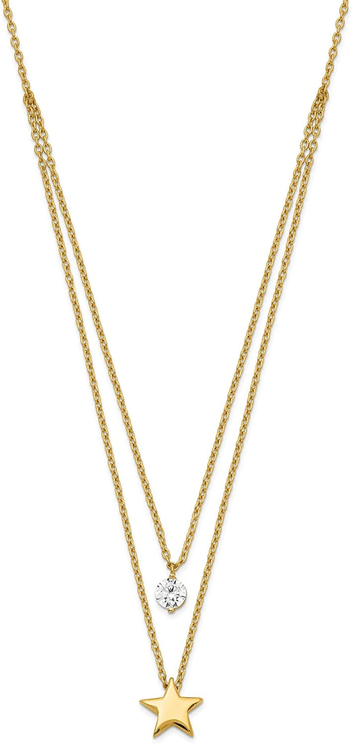 14K Yellow Gold Tiered Star and Rhodiu CZ Deluxe Reservation Necklace 14k