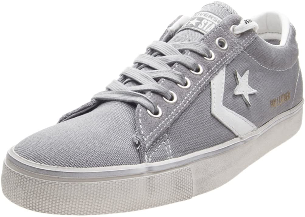 Converse Sneakers Uomo Pro Leather Vulc Distressed OX 160981C Grey Canvas ss 18