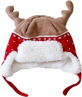 Home Prefer Kids Christmas Hats Cotton Brocade Knit Cap Elk Horn Winter Hat Red