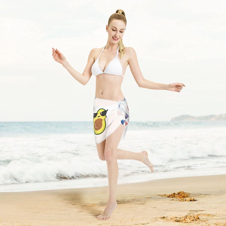 Avocado with Dark Glasses Women Short Sarongs Beach Wrap Swimwear Cover Ups Sheer Short Skirt Bikini Chiffon Scarf Black