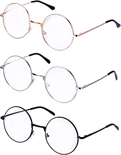 PLAY BLING Metal Frame Round Glasses Set of 3 Clear Lens Large 2 Inches Lightweight Circle Eyeglasses for Women Men Christ...
