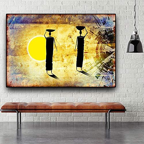 tzxdbh Plakat Plakat Plakat Film Comic Kunst Leinwand ÖlgemäldeGold Sonnenuntergang Afrikanische Frau Figur AbstractLiving Room Home Dekoration Wandmalerei Schlafzimmer Wandbild