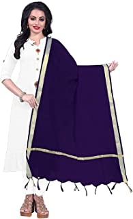Indian Dresses Store Alexa Fashion Cotton Jacquard Women's Dupatta Navy Blue