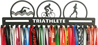 URBN Metal Wall Mount Triathlete Triathlon Swim Bike Run Sports Medal Hanger and Lanyard Ribbon Display Holder Rack with Easy Hanging Hooks & Simple Install