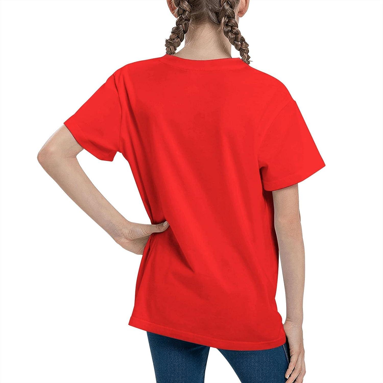 JarBruan Unisex Kid Manga Design Tee for Big Boy Girls Anime Cotton T-Shirts Child Cartoon Casual Clothing School Red