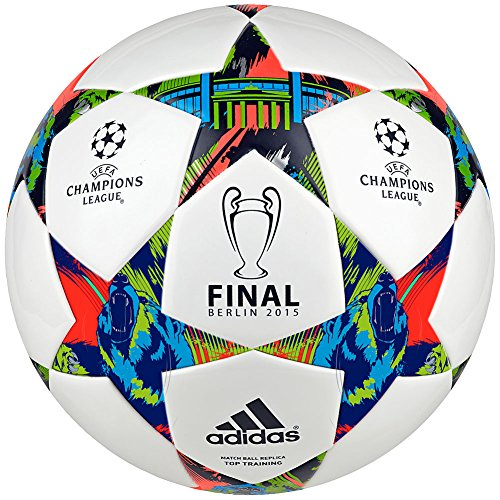 adidas Performance Champions League Finale Berlin Top Training Soccer Bal, White/Solar Blue/Flash Green, Size 4