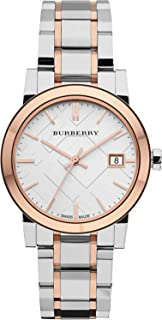 Swiss Rare Rose Gold 2 Tone Silver Date Dial 34mm Women Stainless Steel Wrist Watch The City BU9105