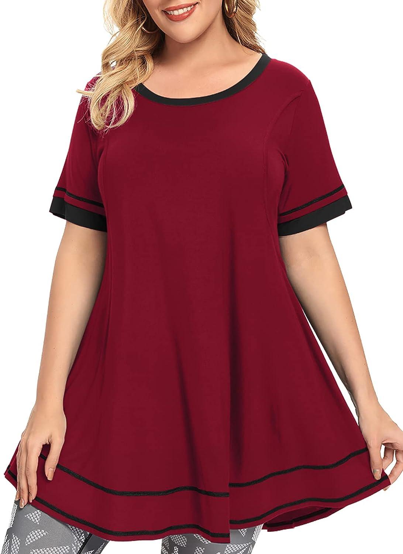 MONNURO Women's Short Sleeve Casual Plus Size Nursing Maternity Clothing Swing Tunic Tops Loose Breastfeeding Shirts