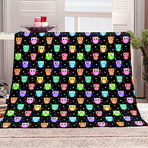 búho Manta para Sofa 3D Animales de Dibujos Animados Reversible Manta Estampata Cálida y Suave Manta de Oficina Mantas sólida para Cama sofá 180x200cm
