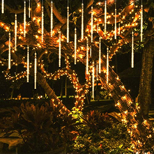 OMGAI 50CM 12 Tubes 576 LED Meteor Shower Rain Lights - Waterproof Drop Icicle Snow Falling Raindrop Cascading Lights for Garden Wedding Party Christmas Shine WarmWhite