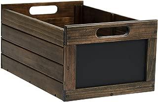 SSWBasics Medium Dark Oak Wood Chalkboard Crate - 3 Pack